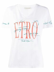 Etro graphic v-neck T-shirt - White