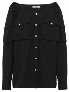 Prada boat neck buttoned blouse - Black