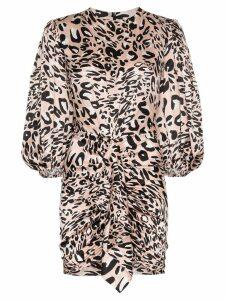 Alexandre Vauthier leopard print gathered mini dress - Pink