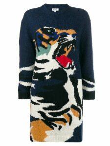 Kenzo intarsia tiger sweater dress - Blue