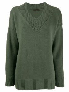 Incentive! Cashmere V-neck knitted jumper - Green