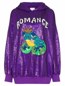 Ashish Romance sequin embellished hoodie - PURPLE
