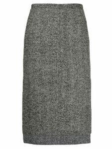 Nº21 Herringbone tweed step-hem skirt - Grey