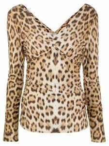 Roberto Cavalli leopard pattern ruched blouse - NEUTRALS