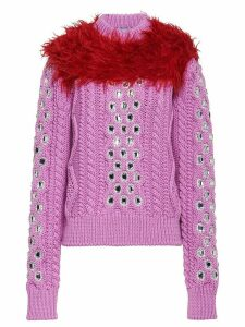 Prada Cordonnet yarn sweater with decorations - Pink