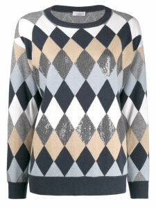 Brunello Cucinelli diamond pattern jumper - Blue