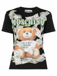 Moschino Teddy banknote logo T-shirt - Black