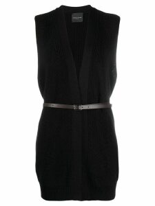 Roberto Collina belted sleeveless cardigan - Black