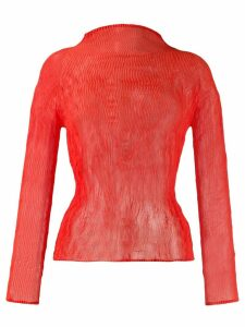 Issey Miyake high-neck plissé top - Orange
