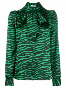 P.A.R.O.S.H. animal print pussy bow blouse - Green