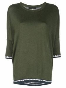 Derek Lam Crewneck Dolman Cashmere Sweater with Printed Silk Back -