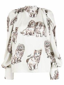 MSGM cat print blouse - NEUTRALS