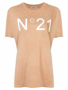 Nº21 logo print T-shirt - Brown