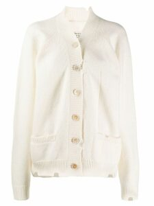 Maison Margiela distressed button up cardigan - White