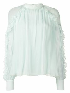 Emilio Pucci Pale Green High Neck Silk Ruffled Blouse