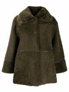 Yves Salomon Meteo Curly shearling coat - Green