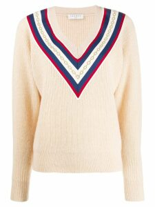 Sandro Paris chain embroidery chevron sweater - NEUTRALS
