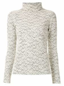Framed high neck tweed top - White