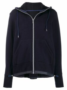Sacai long sleeve hooded top - Blue