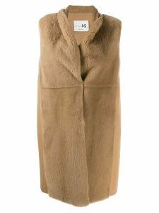 Manzoni 24 midi fur waistcoat - Brown