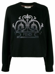 Fendi embroidered logo sweatshirt - Black