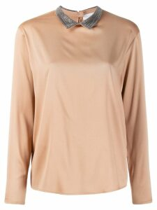 Fabiana Filippi ball-chain collar blouse - Brown