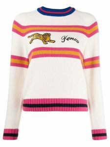 Kenzo stripe embroidered tiger jumper - White
