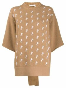 Chloé embroidered knitted jumper - Brown