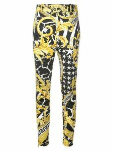 Versace Baroque-print skinny trousers - Black
