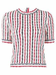 Thom Browne wide university stripe yarn T-shirt - White