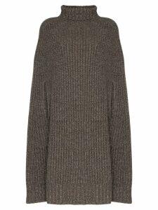 Jil Sander turtleneck chunky knit poncho - Grey