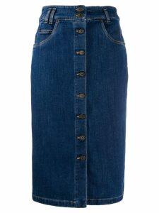 Moschino buttoned pencil denim skirt - Blue