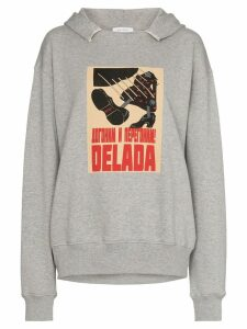Delada poster-print logo hoodie - Grey