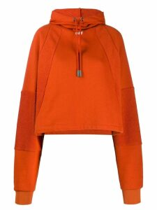 Off-White logo print boxy fit hoodie - ORANGE