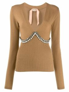 Nº21 crystal embellished jumper - NEUTRALS