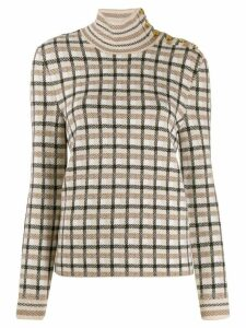 Paco Rabanne check roll-neck jumper - NEUTRALS