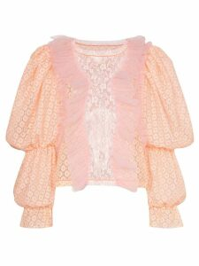 Viktor & Rolf pouf sleeve lace top - ORANGE