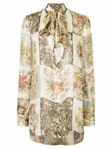 Oscar de la Renta panelled floral print shirt - NEUTRALS