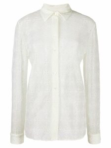 Jil Sander topstitching floral sheer shirt - White