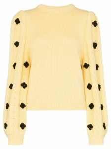 Shrimps floral-embellished knitted sweater - Yellow