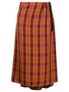 McQ Alexander McQueen high waisted check print skirt - ORANGE