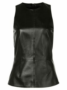Proenza Schouler Sleeveless Leather Peplum Top - Black