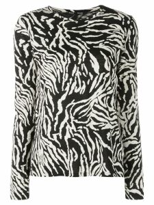 Proenza Schouler Zebra Long Sleeve T-Shirt - Black