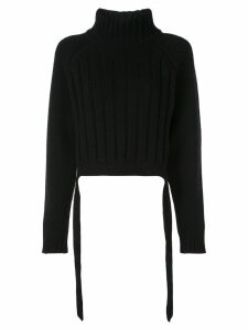 Proenza Schouler Cropped Wool Cashmere Turtleneck Knit Top - Black