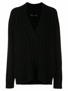 Proenza Schouler Oversized Wool Cashmere V-Nneck Knit Top - Black