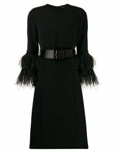 P.A.R.O.S.H. feather detail midi dress - Black