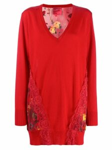 Blumarine floral back longline jumper - Red