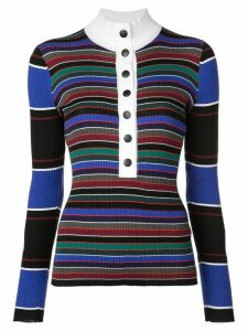 Proenza Schouler PSWL Rugby Striped Turtleneck Sweater - Black