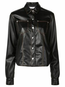 Proenza Schouler PSWL Faux Leather Button Down Shirt - Black