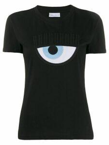 Chiara Ferragni Logomania embroidered T-shirt - Black